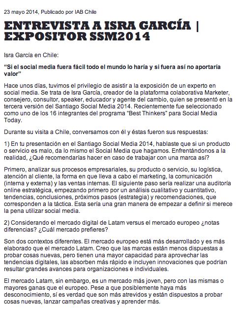 Entrevista Isra García IAB Chile SSM2014