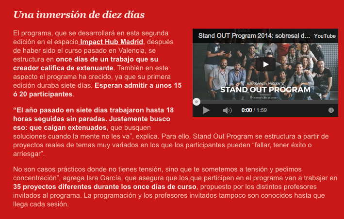 Stand OUT Program 2015  EFE Emprende