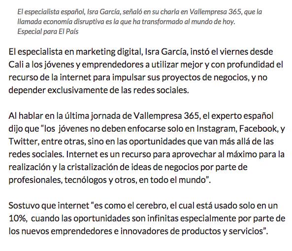 Entrevista para el Pais edición colombia sobre la economia disruptiva - parte 3
