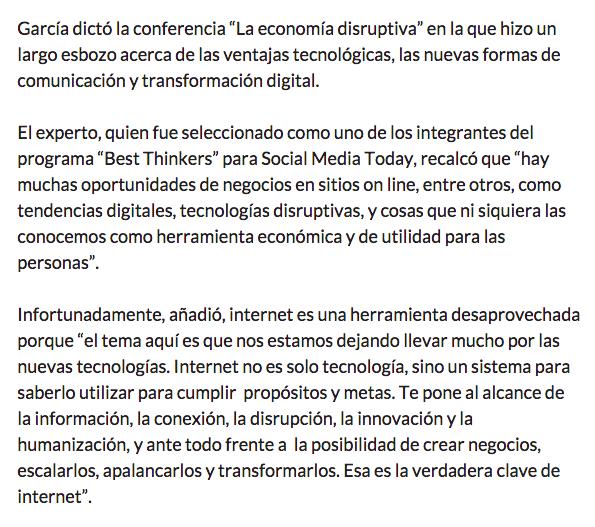 Entrevista para el Pais edición colombia sobre la economia disruptiva - parte 2