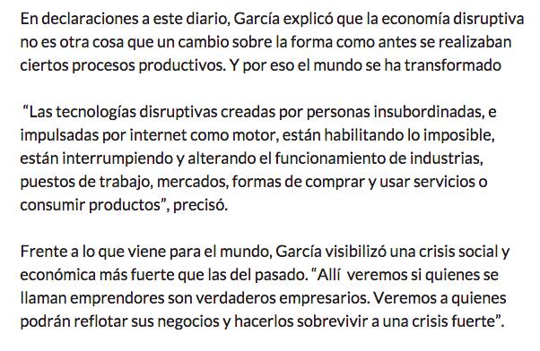 Entrevista para el Pais edición colombia sobre la economia disruptiva