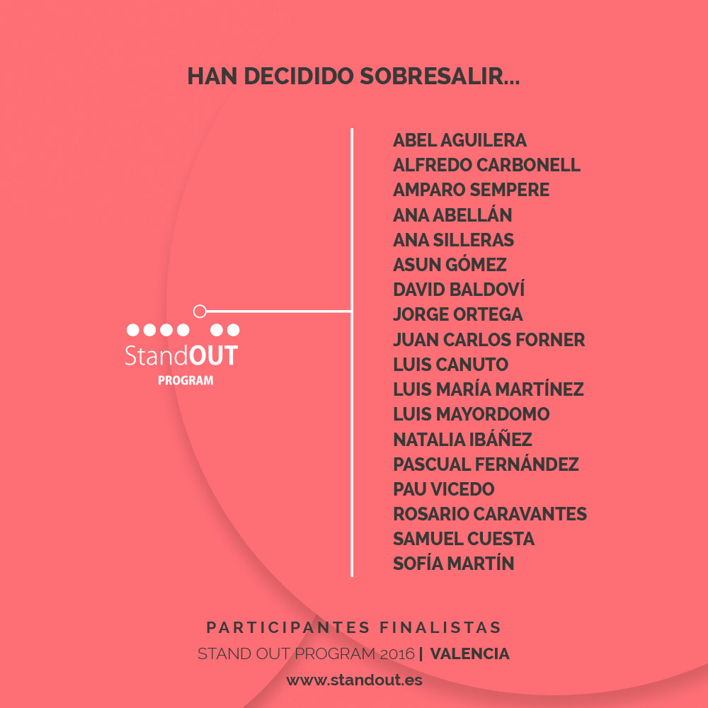 Los 18 finalistas de Stand OUT Program 2016 - edición Valencia