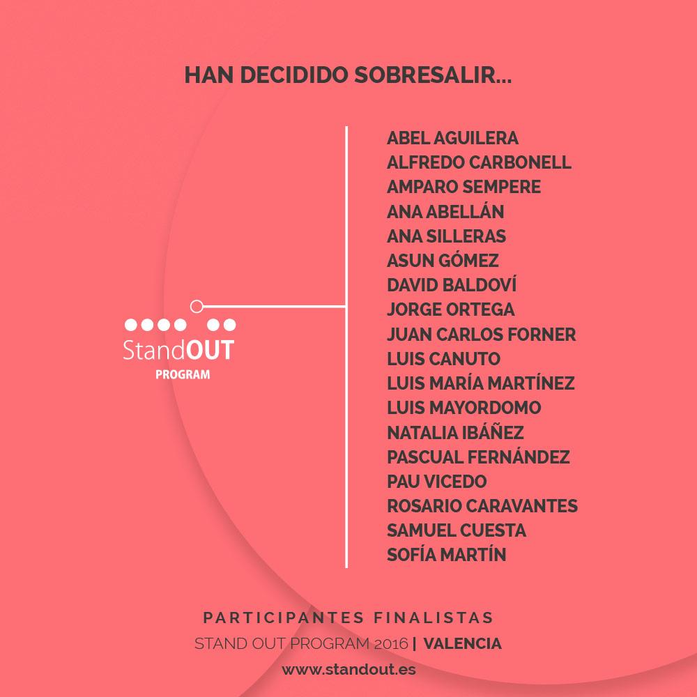 Los 18 finalistas de Stand OUT Program 2016 - edición Valencia